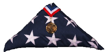 US flag folded with medal
